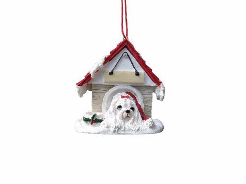 "Maltese Ornament A Great Gift For Maltese Owners Hand Painted And Easily Personalized ""Doghouse Ornament"" With Magnetic Back"