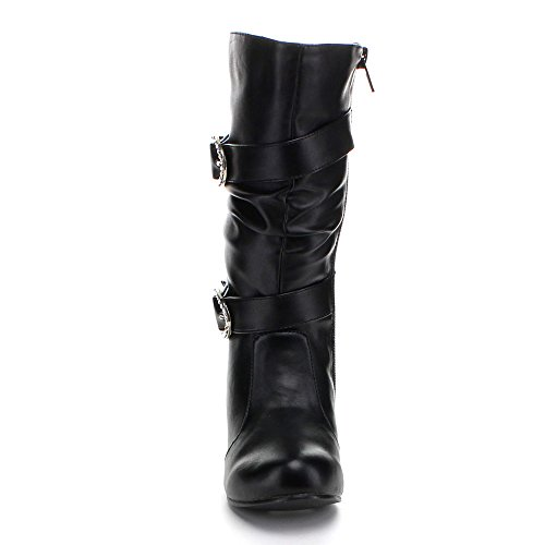 Jelly Beans Valen Kid'S Hot Fashion Girls Kitty Heel Knee High Riding Boots, Color:Black Pu, Size:11