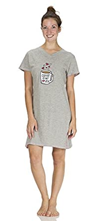 (5197VR) Rampage Coffee is My Lover Embroidered Nightshirt (Sizes S-3X) in Gray Coffee Size: L