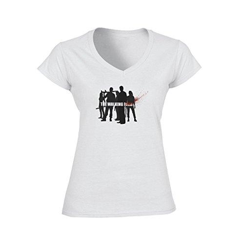 The Walking Dead-Characters-Maglietta con scollo a V, colore: nero fotografico bianco Medium