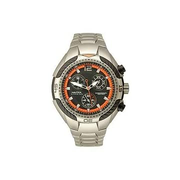 Nautica Men's Titanium Chronograph Black-Orange Dial Men's Watch #N28513G