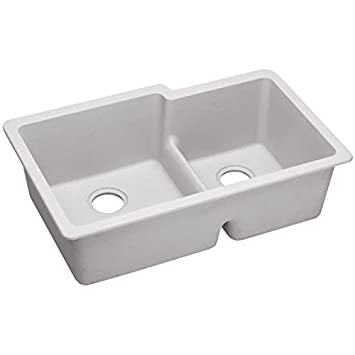 Elkay ELGULBO3322WH0 - Gourmet E-Granite Double Bowl Undermount Sink