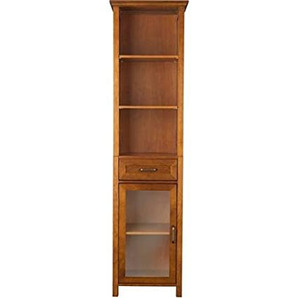 Elegant Style Home Fashions Bathroom Furniture Calais Linen Cabinet with One Shelf, Oil Oak Finishes, Brown