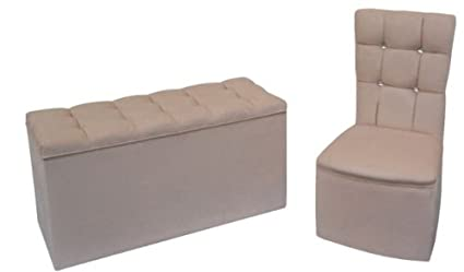 Bedroom Chair/Ottoman Set in Luxurious Beige Soft Chenille Fabric with Diamante Crystal Buttons