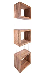 funky style reclaimed wood square box shape bookshelves