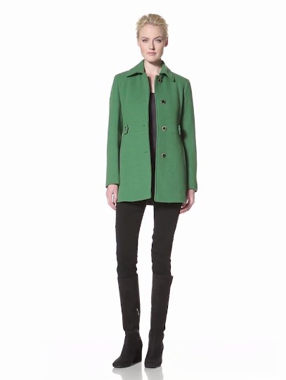 Calvin Klein Womens Single-Breasted Wool Coat, Green, 6