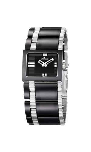 Lotus Women's Quartz Watch with Black Dial Analogue Display and Black Stainless Steel Bracelet 15597/3