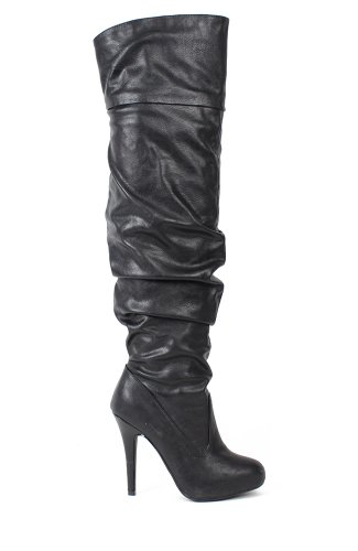 Paprika Gram-S Leatherette Thigh High Heel Boot - Black PU