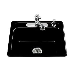 KOHLER K-5964-4-7 Mayfield Self-Rimming Kitchen Sink, Black Black