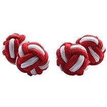 Red & White Silk Knot Cufflinks | Cuffs & Co
