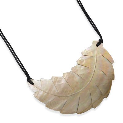 Double Strand Fashion Necklace with Carved Shell Leaf (17 inch +2ext)