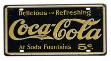 plaque New publicitaire metal aluminium fer tole retro vintage Delicious Soda Fountains Coca