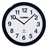 "Lorell Products - Wall Clock, 12"", Arabic Numerals, White Dial/Black Frame - Sold as 1 EA - Round profile wall clock is radio-controlled so the setting is modified each day to that of the atomic clock, accurate to one second per million years. The clock automatically adjusts to Daylight Saving Time. Design features an easy-to-read white dial and black Arabic numerals. Clock runs on one AA battery (sold separately)."