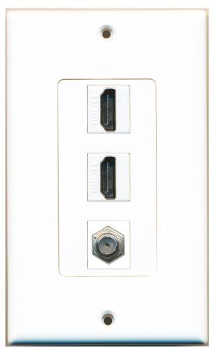 Riteav - 2 Hdmi And 1 Coax Cable Tv F Type Port Wall Plate White Decorative