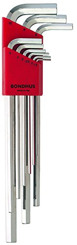 Bondhus 17199 Set of 9 Hex L-wrenches with BriteGuard? Finish, Extra Long Length, sizes 1.5-10mm