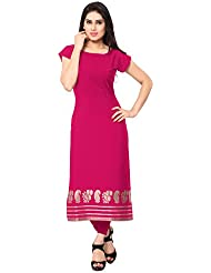 AHALYAA Magenta Colored Cap Sleeve And Boat Neck Faux Crepe Festive Kurti