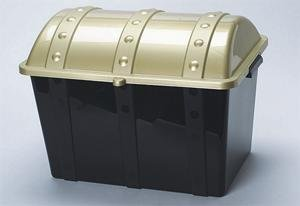 Plastic Treasure Chest with Lid, Gold/Black [Toy]