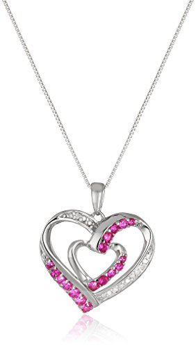 """Sterling Silver Created Ruby and Diamond Double Heart Pendant Necklace, 18"""""""