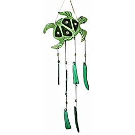 Art Glass Sea Turtle Wind Chime - Hangs 20