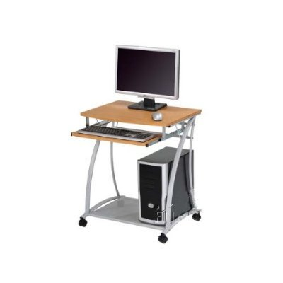 Small Rolling Computer Desk  Metal Frame - Perfect