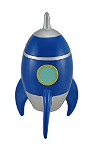 8 blue rocket ship coin safe retro toy spaceship money jar piggy bank toys games - Rocket ship piggy bank ...