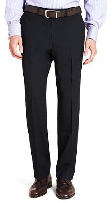 """Mens Washable Wool Blend Formal Trousers With Active Waistband: Navy Flat Front: 34"""" Waist / 29"""" Leg"""