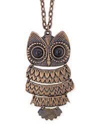 Copper Metal Hinged Owl Necklace
