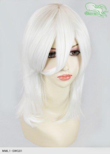 スキップウィッグ 魅せる シャープ 小顔に特化したコスプレアレンジウィッグ フェザーミディ エンジェルホワイト