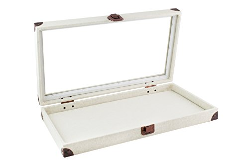 Caddy Bay Collection Beige Canvas Jewelry Ring Display Case with Glass Top Includes 2 Free Inserts– 1x 72 Slot Foam Pad, 1x Thick Linen Liner