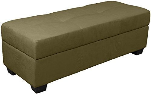 Epic Furnishings Vanderbilt Loveseat Tufted Padded Hinged Storage Ottoman Bench, Microfiber Suede Olive Green (Microfiber Storage compare prices)