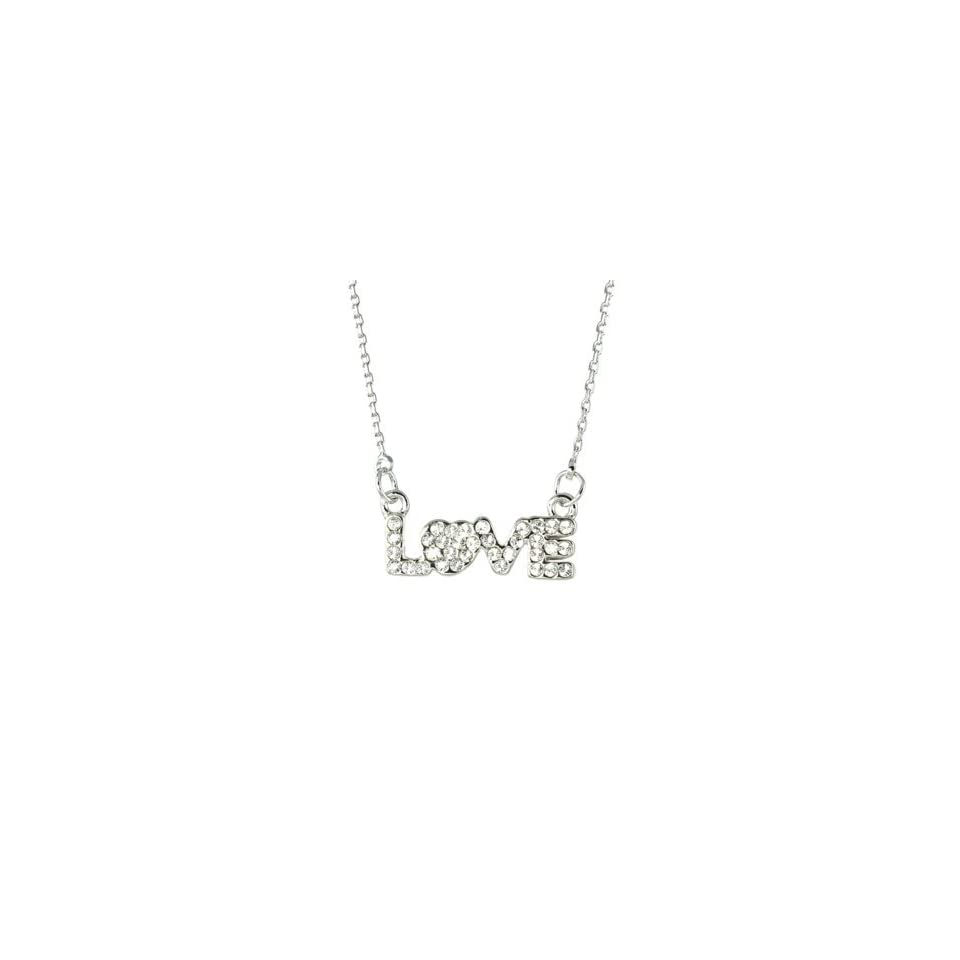 14K White Gold Plated CZ Pave Love Letter Pendant Necklace