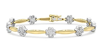 Carissima 9ct Yellow Gold Diamond Flower Bar Bracelet 19cm/7.5""