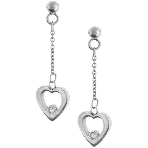 Inox Jewelry Women's Dangle Heart cz 316L Stainless Steel Earrings