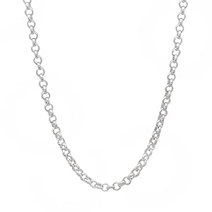 2.2mm Solid 925 Sterling Silver Rolo Chain Necklace, 22