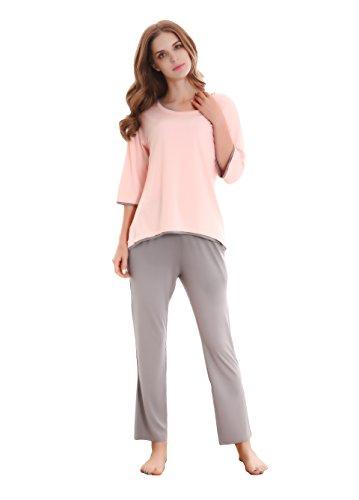 GYS Women's Sleepwear 3/4 Sleeve Crew Neck Bamboo Pajama Set