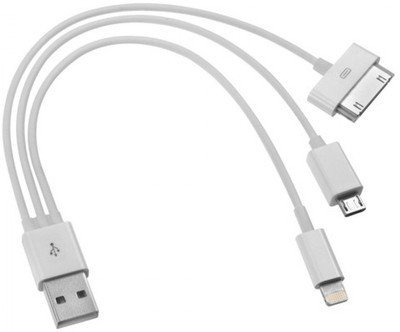 eCosmos (TM) 3 in 1 Data Cable for Micro USB, iPhone 4 & 5 USB Cable  available at amazon for Rs.60