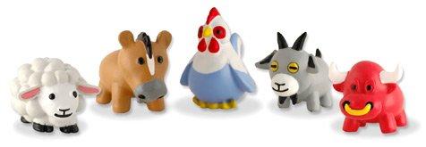 Sqwishland Barnyard Farm Animals - Set of 5 With Game Codes