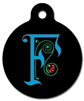Monogram Letter F Pet ID Tag for Dogs and Cats