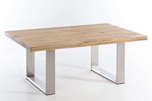 Couchtisch-massiv-Holz-Wildeiche-VALDEZ-110x70-natur-gelt-Edelstahl-Tischuntergestell