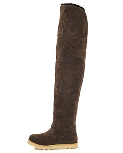 Maybest Women's Winter Faux Fur Snow Boots Over The Knee Pull On Slouchy High Boot Coffee 6 B (M) (Go Go Boots Australia)