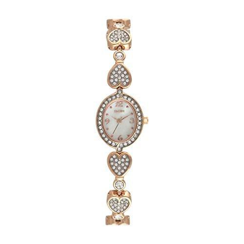 時計 Elgin エルジン Ladies' Embellished Rose Gold tone Watch with Heart shaped link Bracelet EGC9099 ウィメンズ レディース 女性用 [並行輸入品]