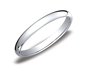 Women's Platinum 2.5mm Traditional Plain Wedding Band with Luxury High Polish, Size 6