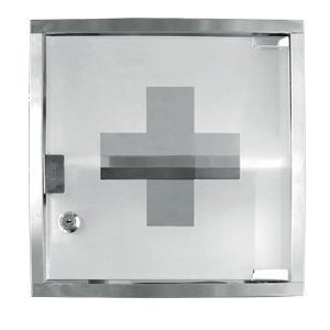 2 Shelf Stainless Steel Medicine Chest with Locking Front Glass Door *Great Qualtiy*