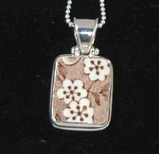 Hand Cut China Sterling Silver Pendant Brown Flowers