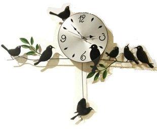 鳥の振り子時計 ウォールクロック 壁掛け時計 インテリア