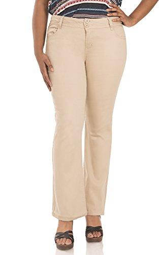 WallFlower Juniors Plus Size Luscious Curvy Bootcut Chino Pants in Khaki Size: 22