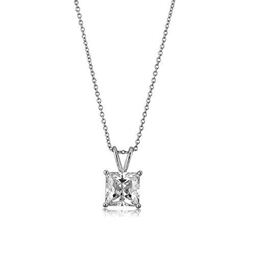 [ジュエリーキャッスル] Jewelry Castle ネックレス 豪華な3カラット プリンセスカット 一粒ペンダント ネックレス CZダイヤモンド