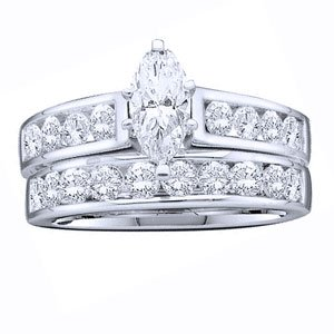 1 1/2 Carat Marquise Round Diamond 14k White Gold Bridal Set Ring