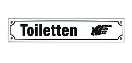 Schild Straßenschild Toiletten Hand rechts Email Strassen Emaille WC Toilette, 40x8 cm, weiß