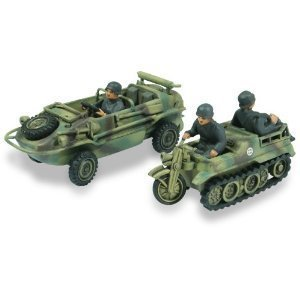 Lindberg 1:72 scale Schwimmwagen Amphibious Jeep and Kettenkrad 1:2 track motorcycle by Alpha International Inc.